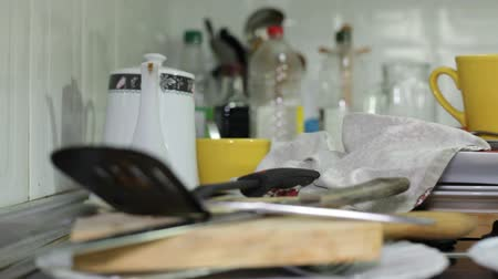 cleaning equipment : Messy kitchen Stock Footage