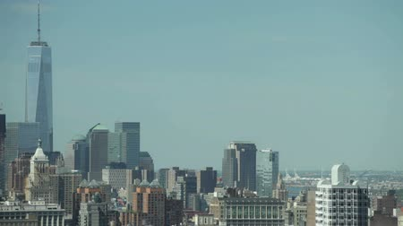 condomínio : Lower Manhattan cityscape detail in New York City, USA. Stock Footage