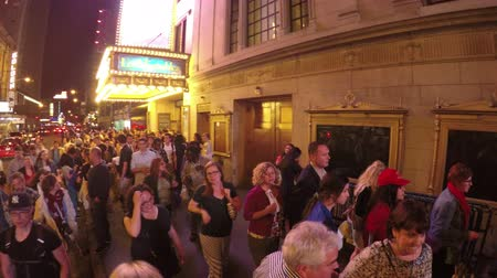 premiere : New York City, USA - 19 May 2015: Crowded 45th Street and theaters in Midtown Manhattan at night.