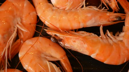 krewetki : Fresh prawns caught in Spain frying in olive oil on the grill pan.