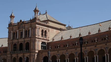 Seville, Spain - 21 September 2015: Detail of the pavilion buildings at the Plaza de Espana located in the Maria Luisa Park.