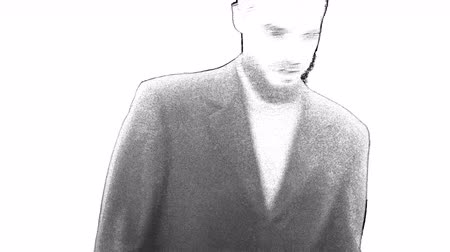 Outlined digital grey businessman turning around and going away, isolated on white background. Dostupné videozáznamy