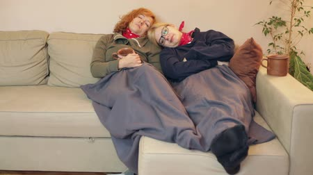 Girlfriends sleeping together under the blanket on the sofa at home.