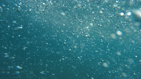 Underwater view of air bubbles and sunlight in blue beautiful ocean.