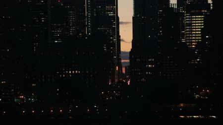 Night traffic scene of FDR drive and East 57th Street in Midtown Manhattan, New York City, USA.