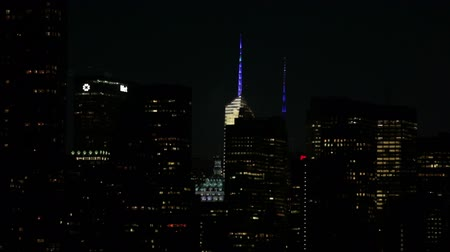 New York City, USA - 14 May 2015: The Bank of America Tower and the MetLife Building in Manhattan at night.