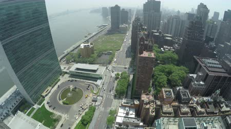 Top view at First Avenue and Midtown Manhattan in New York City, USA.