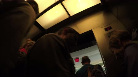 New York City, USA - 20 May 2015: Fast motion of the elevator full of people going up to the Top of the Rock in Rockefeller Center on Midtown Manhattan.