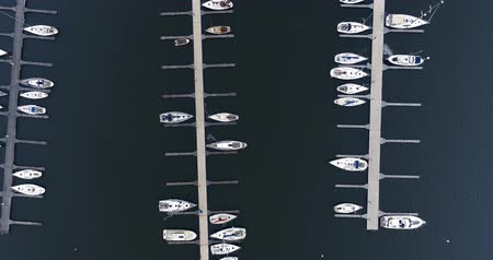 finlandiya : Flying over the marina at Nuottaniemi in Espoo Finland, on an autumn day with boats being stored for the winter at land