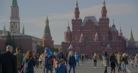 blue red : RUSSIA, MOSCOW - OCTOBER 20, 2018: People walk on red square, warm autumn day
