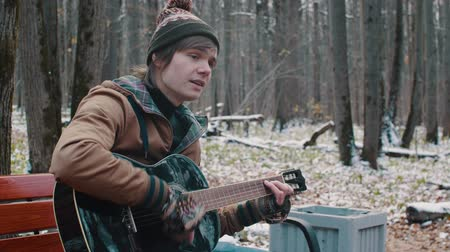 luar : people in the Park playing guitar in winter