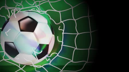penas : Soccer ball soared into the net and the net was torn apart out. Stock Footage