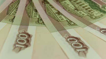 Russian rubles, the money closeup Стоковые видеозаписи