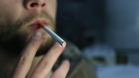 man with beard and mustache Smoking a cigarette Stock Footage