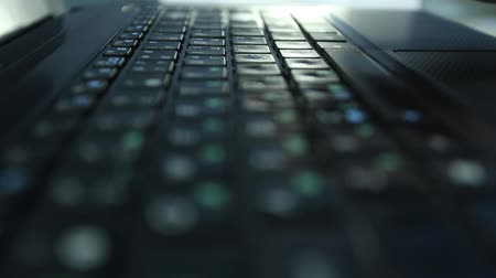 Man hands typing text on laptop keyboard, font printing Stock Footage