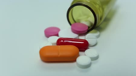 medical pills closeup in motion Stock Footage