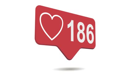 social media red heart counter, shows likes over time on Stock Footage