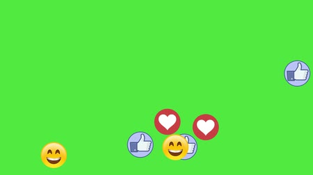 megjegyzés : Social media icons smile fingers and hearts on green screen chromakey background