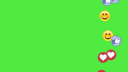 Social media icons smile fingers and hearts on green screen chromakey background