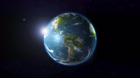 planet earth in space with sunlight