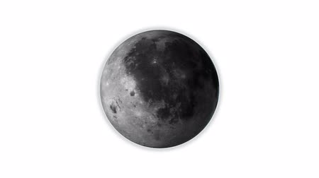 moon rotates, isolated on white background