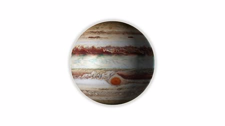 planet Jupiter rotates, isolated on white background