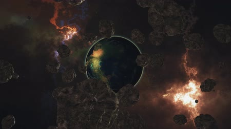 generált : flying from a planet similar to earth through asteroids, another earth