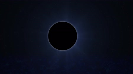 solar Eclipse, view from space, unknown planet or moon Stock Footage