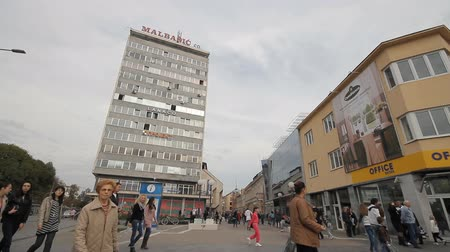 banja : Banja Luka, Bosnia and Herzegovina, 26.10.2012. city square Stock Footage