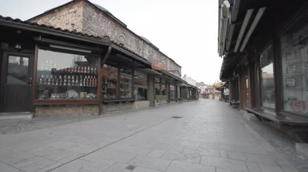 bascarsija : SARAJEVO, BOSNIA AND HERZEGOVINA - JULY 12: Part of city called Bascarsija, Old town on early morning on July 12, 2012 in Sarajevo, Bosnia and Herzegovina. Popular tourist location Stock Footage