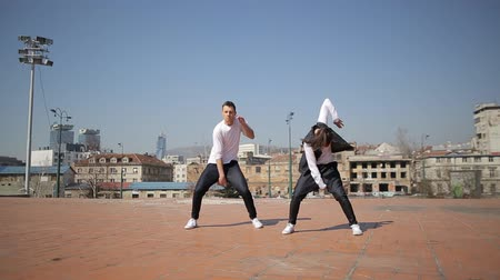 hiphop : Professional dancers dancing  in the street of Sarajevo, Bosnia and Herzegovina