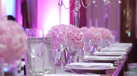 setting : Table set for an event party or wedding reception