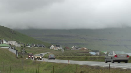 torshavn : Traffic on a road in the Faroe Islands in the North Atlantic Stock Footage