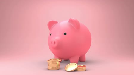 копилку : Golden coins falling into a piggy bank. Pink piggy bank Get bigger when receiving coins and Gold coins appears a lot.Money saving concept.3d animation. Стоковые видеозаписи