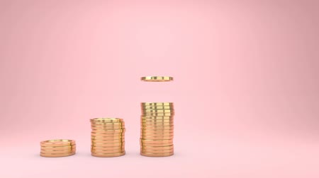 vychovávat : 3d animation Raising of golden coins stacks on pink background.Money saving and economy concept. Dostupné videozáznamy