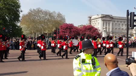London, United Kingdom - 15th April 2019. Changing of the guard ceremony on Buckingham palace. Stok Video