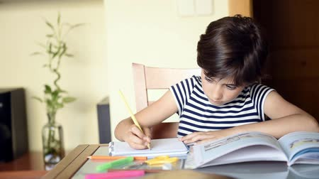 Cute girl making her homework, schoolgirl studing at home at the table, childrens education, back to school