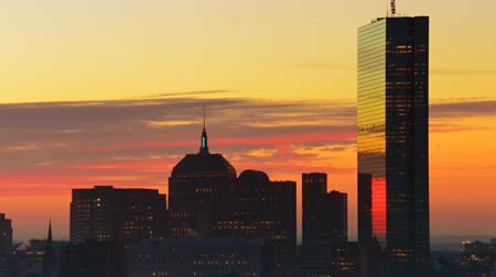 cambridge : Timelapse of dramatic sunrise over Boston downtown time lapse as seen from Cambridge