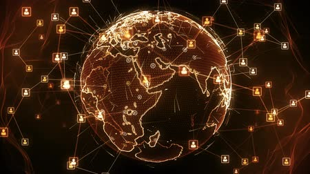 dünya çapında : Global network connections. Connecting people around the world. You can use it for a technology, communication or social media background. Orange version. Seamless loop. 4K