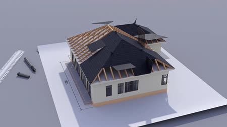 dom : Building a house with a hip roof. Time-lapse 3d animation of house construction - from the blueprints to installation of the roof. Top view. 4K