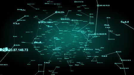organizacja : Data and computer network connections. An abstract background of internet connections. Green version. Seamless loop. Available in multiple color options. 4K Wideo