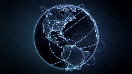 dünya çapında : Growing network connections around the world. Global network, internet concept. Connecting people in a digital world. Blue version. Loopable. 4K