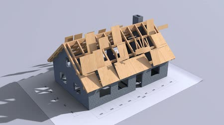 çizim : Home construction. Time-lapse 3d animation showing a process from the blueprints to installation of the roof. Top view. Full HD Stok Video