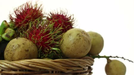 mangosteen : fruit of thai in basket on isolated