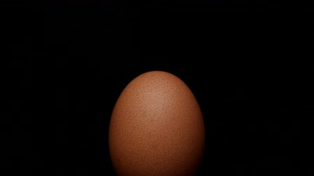 aliment : Egg rotating on isolated black