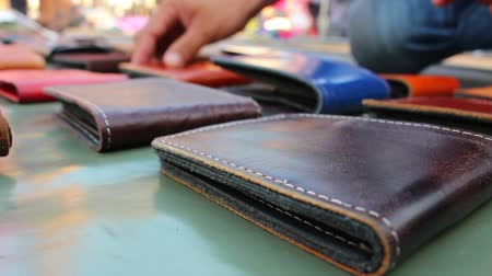purse : leather wallet background Stock Footage