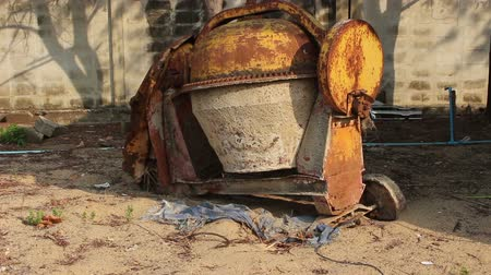 mixer : Old cement mixer Stock Footage