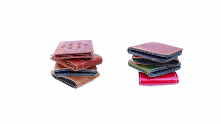 couro : Group wallet of leather rotating on isolated
