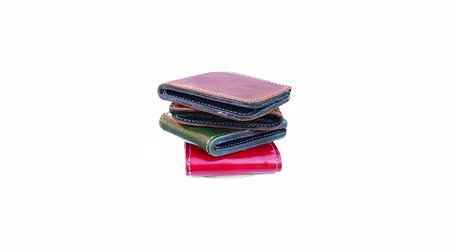 wallet : Group wallet of leather rotating on isolated