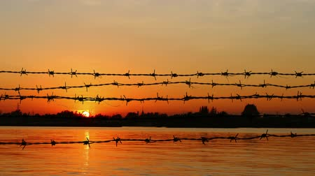 prisioneiro : barbed wire on sunset Stock Footage